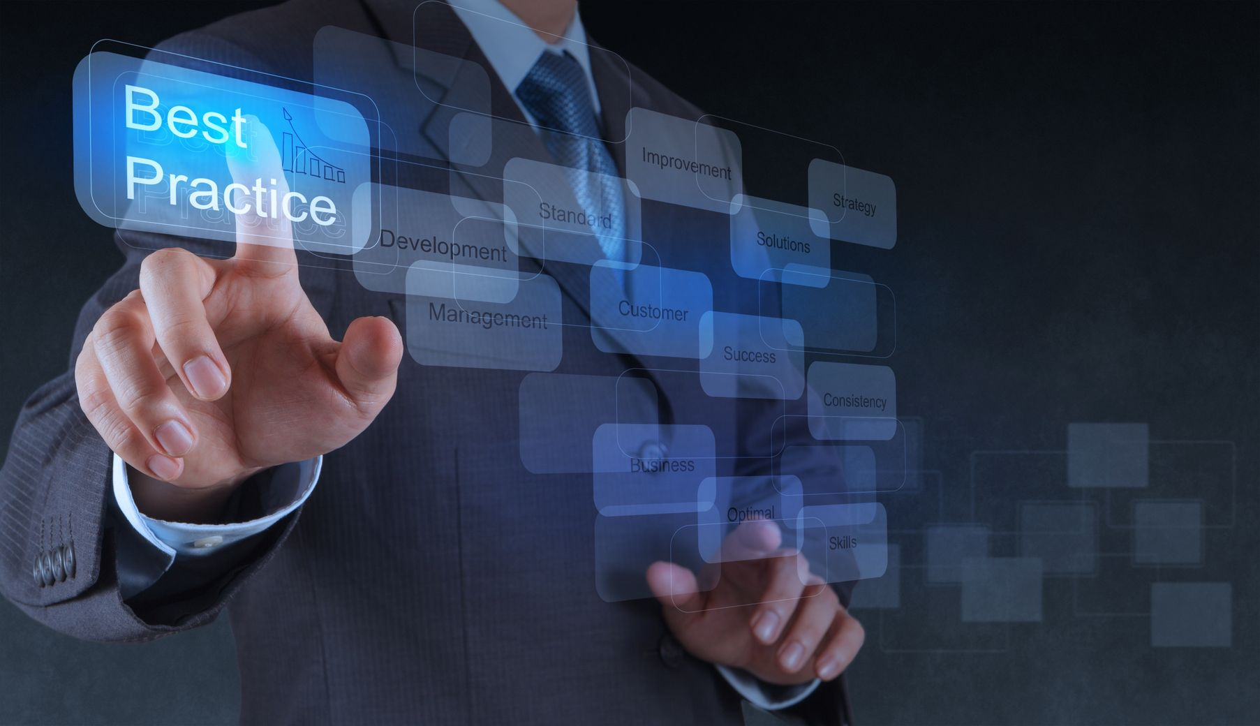 17156973 - businessman hand shows best practice word on virtual screen as concept